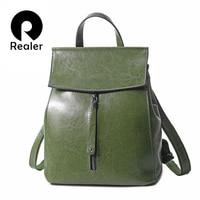 REALER women backpack leather backpacks for teenager girls school bag female crossbody bag shoulder bags for ladies