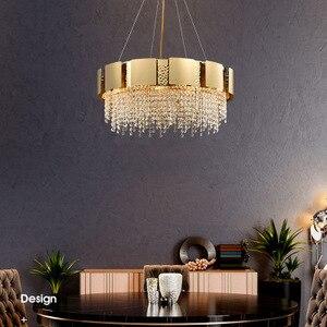 luxury design gold crystal chandelier LED lamp AC110V 220V lustre cristal living room lights dinning chandeliers|Pendant Lights|   -