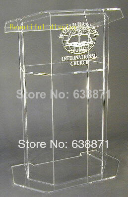 Free Shiping Simple Beautiful Aluminium Shape Podium Lectern Stand, Modern Acrylic Lectern Podium Pulpit For Sale