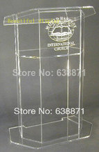 Free Shiping Simple beautiful Aluminium shape podium lectern stand, modern acrylic lectern podium pulpit for sale(China)