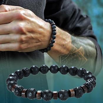 Lava Stone Men Bracelet Natural Moonstone Bead Tibetan Buddha Bracelet Chakra Diffuser Bracelets Men Jewelry Gifts Drop Shipping 3