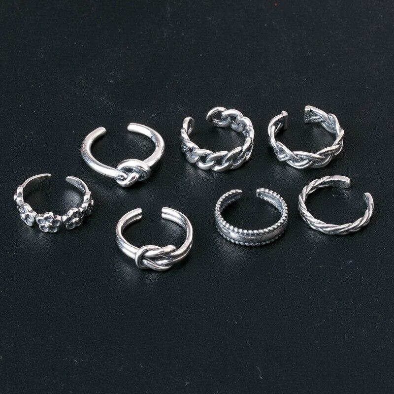 Комплект колец в ретро стиле для женщин, регулируемые кольца на палец, античное серебро, богемный стиль, 7 шт./Лот, ювелирные аксессуары