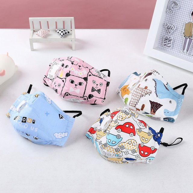 Cartoon Anti-fog children's mask with breathing valve adjustable dust flu protection mouth mask 3D fitting breathable mask 1pcs