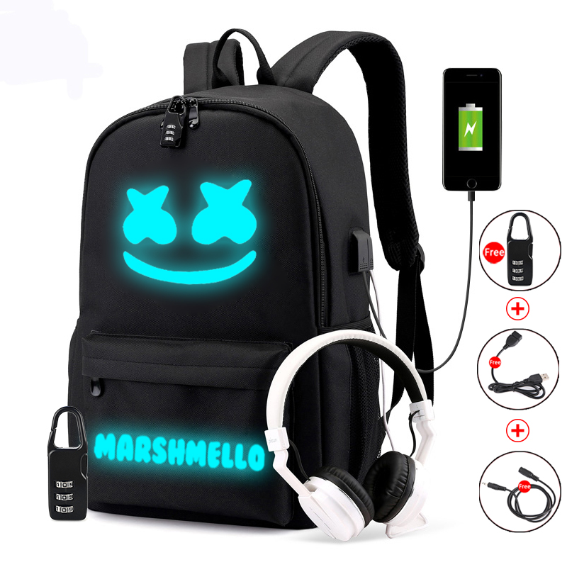 Luminous Student Backpack DJ Marshmallow Teenage Rucksack School Bag Can Usb Charging Anti Theft And Waterproof Laptop Bags