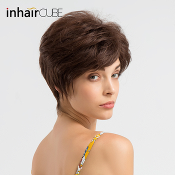 цена на Inhaircube Fluffy 50% Synthetic Wig 50% Human HAIR  Short Wigs for Women Side Part Natural Wave Wig Brown Free Shipping 6