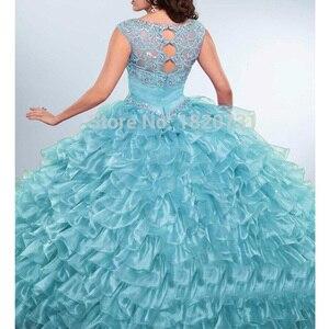 Image 5 - Vestido de baile morado claro para quinceañera, plisado, con cuentas de diamantes de imitación, 16 años
