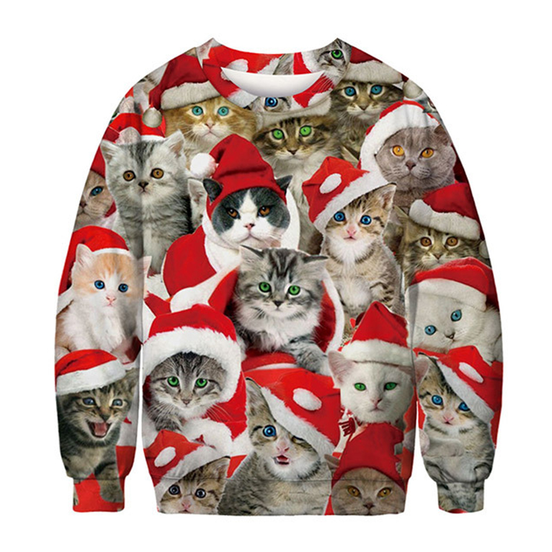 Ugly Christmas Sweater Funny Xmas Pullover Hoodie Cat Pizza Sweatshirt Printed Christmas Men And Women Harajuku 3d Sweater