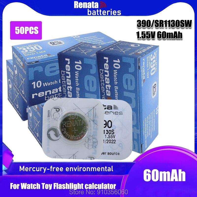 50 шт., Renata Watch Battery 1,55 V 390 SR1130SW 389 LR54 AG10, серебряные Оксидные кнопочные батарейки, сделанные в Swiss
