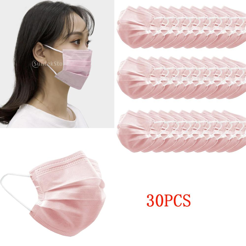Lots 30 3 Ply Disposable Face Mouth Masks Anti Haze Dust Ear Loop Pink PM2.5 Disposable Elastic Mouth Soft Breathable Face Mask