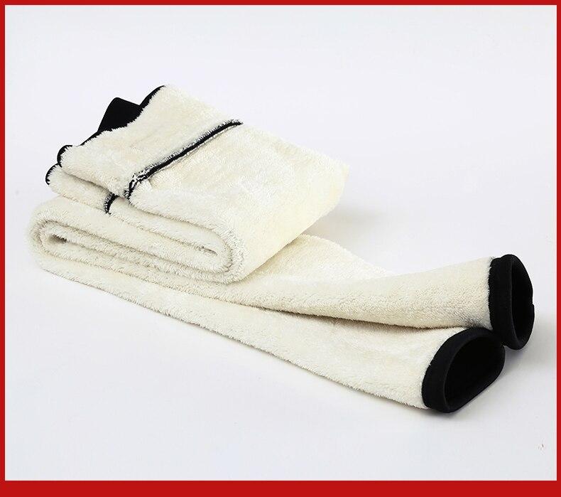 Black warm winter skinny thick velvet wool fleece Pants For Women leggings