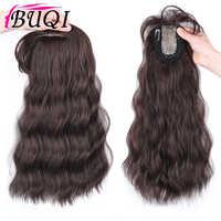 BUQI-Peluca de pelo con 3 pinzas para mujer, extensión de cabello ondulado con flequillo, postizo de pelo sintético, tupé de mujer