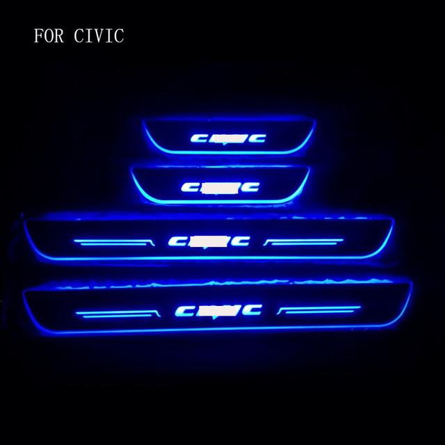 Customized 4PCS Moving LED Welcome Pedal Car Scuff Plate Pedal Threshold Door Sill Pathway Light For Honda Civic 2016-2018