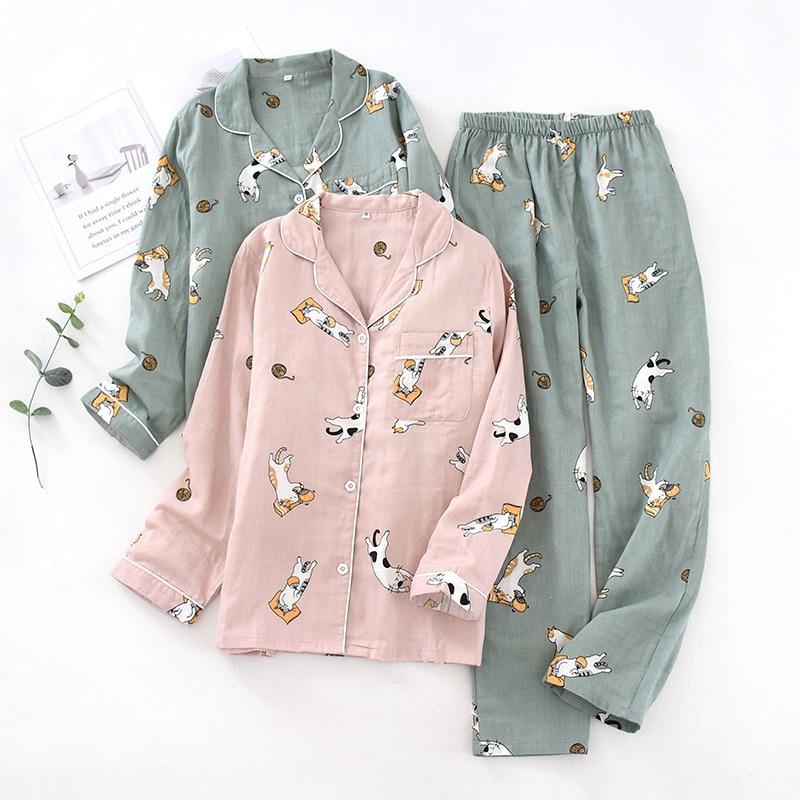 Autumn Cotton Gauze Long Sleeves Pajamas Cartoon Printing Pijama Mujer Thin Home Wear 2 Piece Sleepwear Loungewear Couple Pj Set