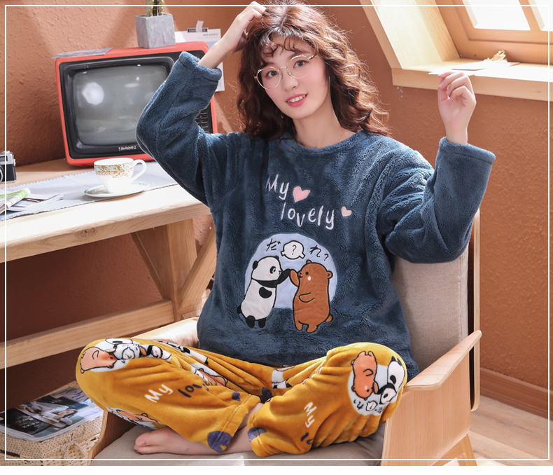 Long Sleeve Warm Flannel Pajamas Winter Women Pajama Sets Print Thicken Sleepwear Pyjamas Plus Size 3XL 4XL 5XL 85kg Nightwear 351