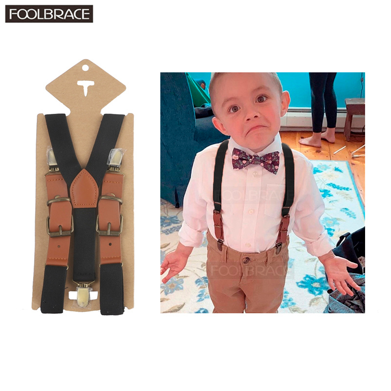 2.5cm Width Children's Boys Kids Suspenders Solid Elastic Belt Leather Adjustable Straps 3 Clip Y-back Braces Bronze Buckle