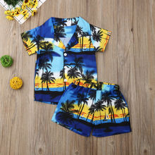 Pudcoco Kids Baby Boys Outfit Set Hawaiian Beach Holiday T S