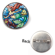 New Cute Cartoon Little Mermaid Ariel Princess Brooch Charm Crystal Glass Round Jewelry Badge Girl Party Dress Accessories Gift