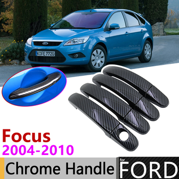 Black Carbon Fiber Door Handle Cover for Ford Focus 2 MK2 MK2.5 2004~2010 2008 2009 Car Accessories Stickers Trim Set Chrome image