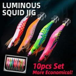 Hard Bait Luminous Shrimp Squid Jigs Set 2.5/3.0/3.5# Sea Fishing Lure Set Artificial Cuttlefish Octopus Winter Fishing