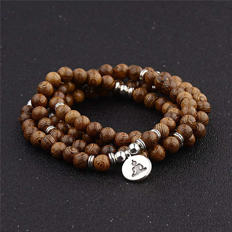 Multilayer 108 Wood Beads Lotus OM Bracelet Tibetan Buddhist Mala Buddha Charm Rosary Bracelet Yoga Wooden For Women Men Jewelry