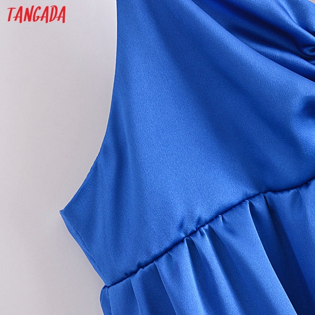 Tangada Women's Party Dress Solid Color Long Dress Strap Adjust Sleeveless 2021 Korean Fashion Lady Elegant Dresses QN62 4