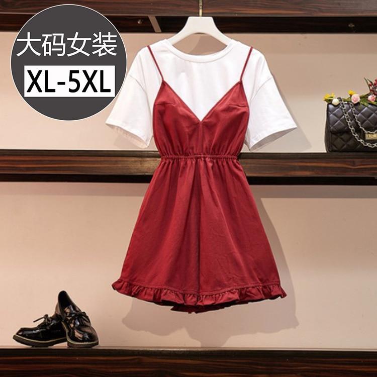 Large Size Dress Round Neckline T-shirt Solid Color Tops Women's Waist Hugging Wrinkle Camisole V-neck Suspender Pants Two-Piece
