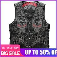 2020 Vintage Black Men Skulls Embroidery Genuine Biker's Leather Vest Plus Size XXXXXL Slim Fit Short Cowhide Riding Vest