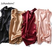 Schinteon Women 100% Real Silk Tank Tops Satin Sleeveless Su