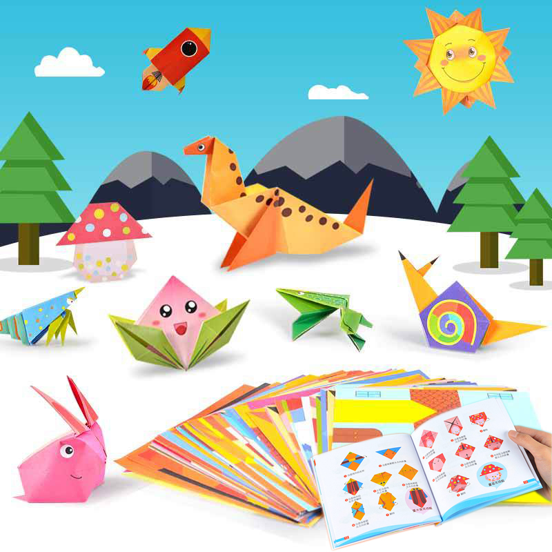 WARMOM Baby Kids Animals DIY Handmade Paper Folding Toys 3D Cartoon Origami Game Kids Educational Toys Kindergarten Funny Toy