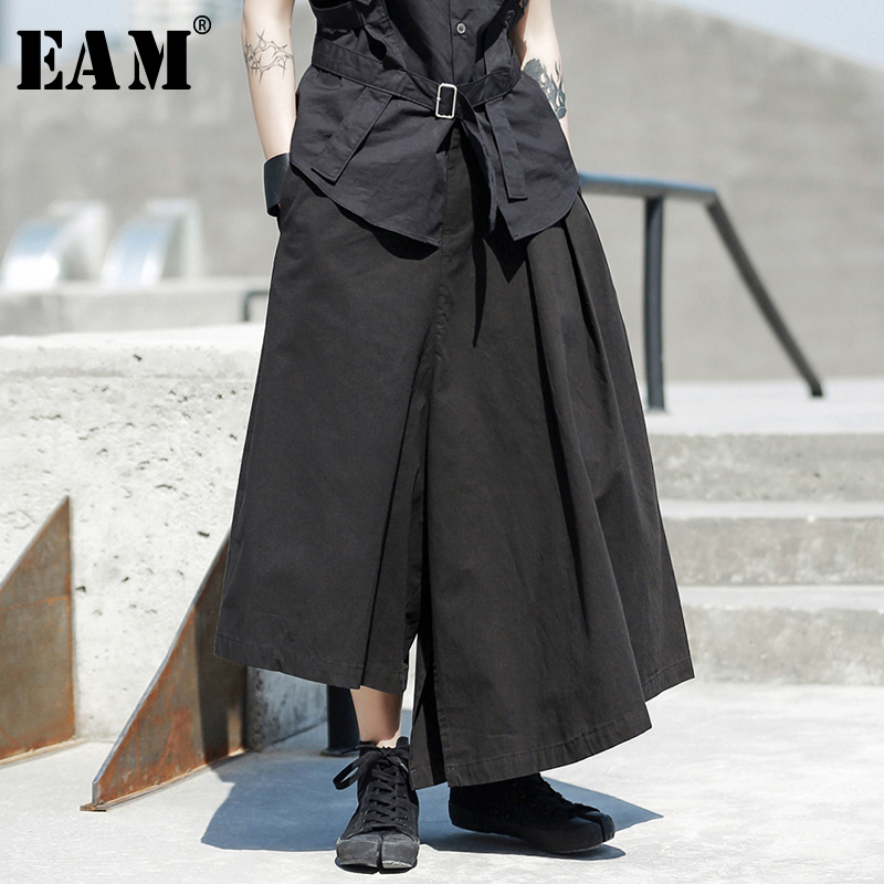 [EAM] High Waist Black Asymmetrical Long Wide Leg Trousers New Loose Fit Pants Women Fashion Tide Spring Autumn 2020 1R588
