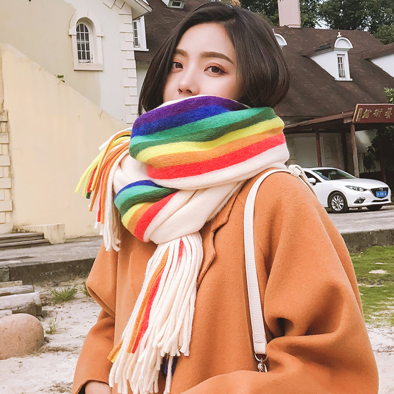 Brand Women Scarf Rainbow Stripe Knitted Scarf Women Fall Winter Versatile Cape Korean Version Student Lovely Girl Warm Neck Tif