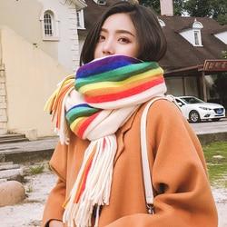 Brand women scarf Rainbow Stripe knitted scarf women fall winter versatile Cape Korean version student lovely girl warm neck tif