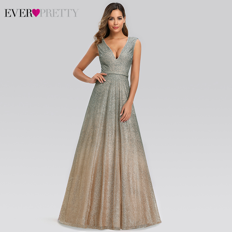 Sexy Prom Dresses Long Ever Pretty A-Line Double V-Neck Sleeveless Tulle Sparkle Formal Evening Party Gowns Robe De Gala 2019