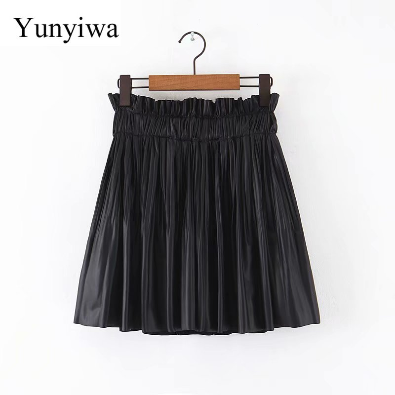 New Women Sweet Agaric Lace Elastic Waist PU Leather Pleated Mini Skirt Faldas Mujer Ladies Vestidos Casual Slim Skirts image