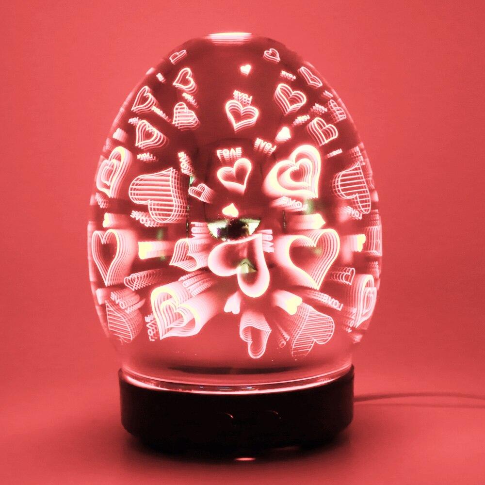Ev Aletleri'ten Nemlendiriciler'de 3D havai fişek cam vazo şekli hava nemlendirici ile 7 renk Led gece lambası aromalı uçucu yağ difüzör Mist Maker ultrasonik title=