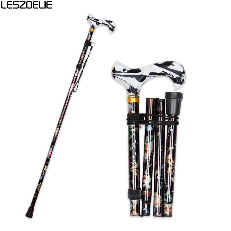 12 Colors Floral Folding Walking Stick Women 2019 Decorative Fashionable Walking Cane Lady Luxury Adjustable Walking Stick Canes