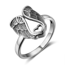 Angel Wings Heart Shape Rings Vintage Silver Color Rings For Women Fashion Rings Jewelry Women Female Wedding Rings Gifts(China)