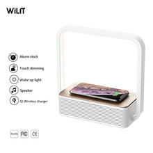 Wilit Hotsales maison marchandises 5W sans fil Charge LED lampe de nuit avec haut-parleur Bluetooth et variateur tactile pour chambre à coucher