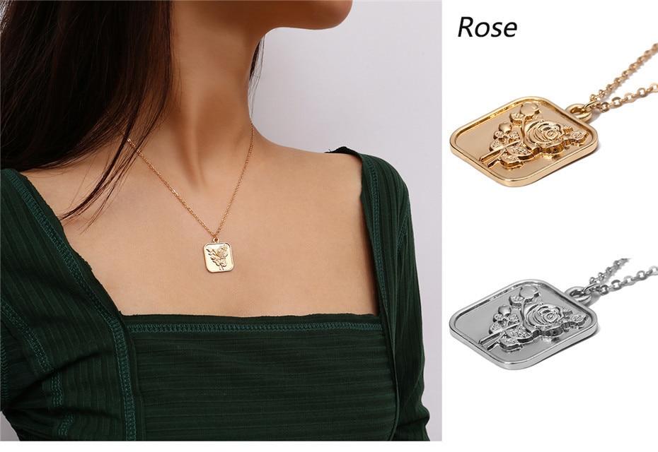 Ingemark, простое, винтажное, резное ожерелье с кулоном в виде монеты, крупное лицо, Богиня Девы Марии, розы, ангела, длинная цепочка, ожерелье для женщин