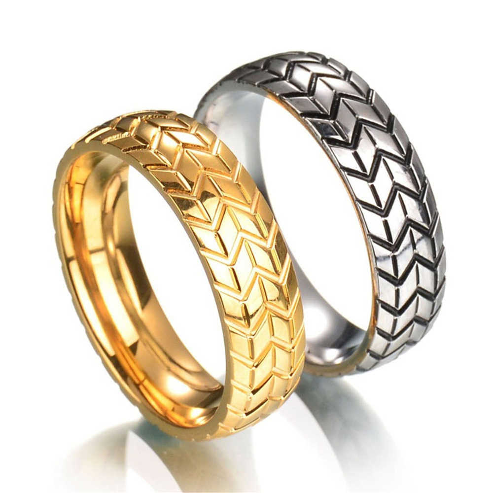 1PC Fashion Men Hip Hop Rock Rings Gothic Punk Cool Motorcycle Tire Ring  Biker Geometric Striped Wedding Band Ring Jewelry