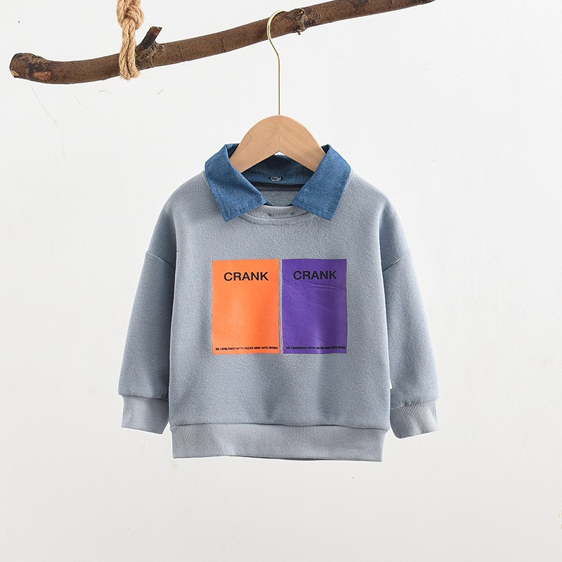 Boys Sweatshirts Toddler Girls Baby Children Outerwear Autumn Letter Spring Turndown-Collar