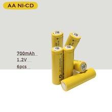 6 x AA 700mAh 1.2 V Quanlity akumulator NI-CD 1.2 V akumulator 2A Bateria baterie baterie 500 razy