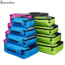 Soperwillton Men Women Travel Bag Male Female 210 D Polyester 4 5 8 Pieces Packing Cubes Travel Luggage Organizer Cube Set #501