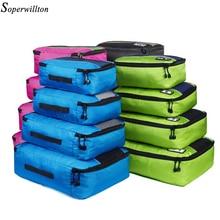 Soperwillton erkekler kadınlar seyahat çantası erkek kadın 210 D Polyester 4 5 8 adet ambalaj küpleri seyahat bagaj organizatör küp seti #501