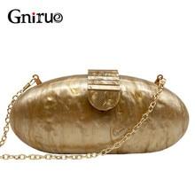 Gnirue Brand Fashion Wallet Women Acrylic Cute Long Round Evening Bag Woman Solid Marble Luxury Party Prom Handbag Casual Clutch