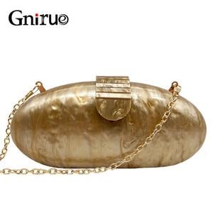 Image 1 - Gnirue מותג אופנה ארנק נשים אקריליק חמוד ארוך עגול ערב תיק אישה שיש מוצק יוקרה מסיבת נשף תיק מזדמן מצמד