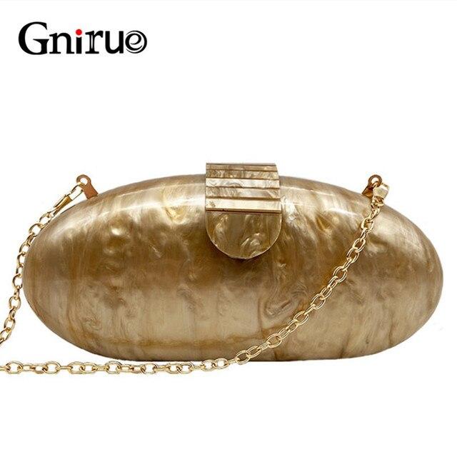 Gnirue מותג אופנה ארנק נשים אקריליק חמוד ארוך עגול ערב תיק אישה שיש מוצק יוקרה מסיבת נשף תיק מזדמן מצמד