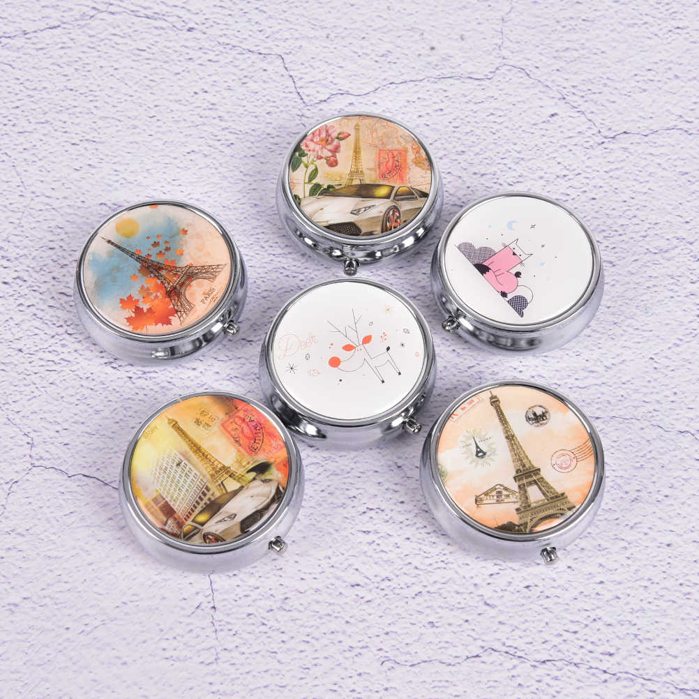 1 PCFlower Print Cute Divid Storage Tablet Container Medicine Box Metal Round Compartment Pill Case Portable Organizer