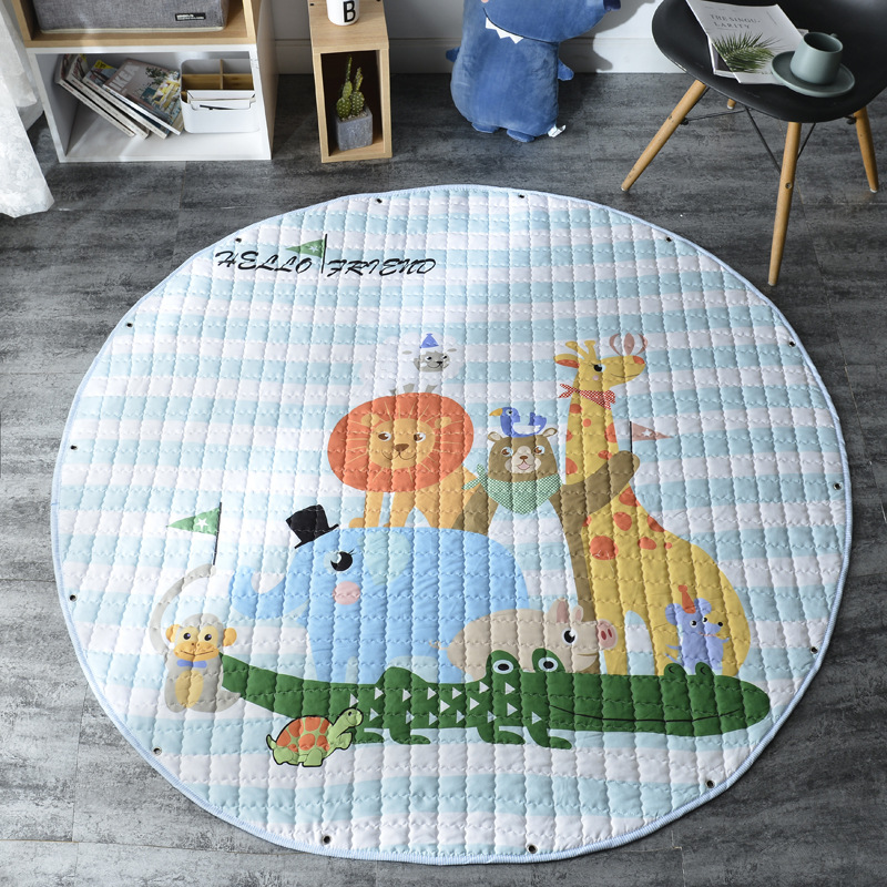 Hcef0e42e263d4076b9d577633e77cf01X Kid Soft Carpet Rugs Cartoon Animals Fox Baby Play Mats Child Crawling Blanket Carpet Toys Storage Bag Kids Room Decoration