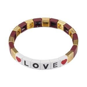 Браслет с надписью LOVE для пар, алфавит, Тила, плитка, браслет, очаровательный подарок, ручная работа, радуга, сделай сам, бисерный, бохо, брасл...